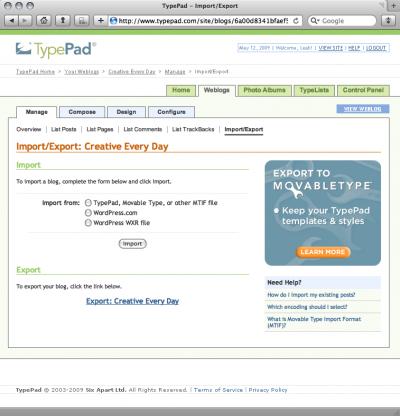 typepad export options