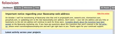 Basecamp URL change basecamphq