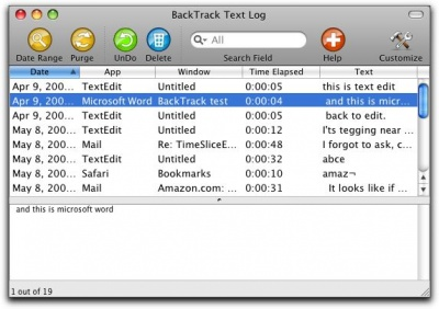 BackTrack textlog
