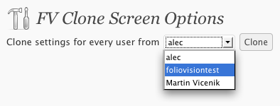 fv clone screen options usage 2