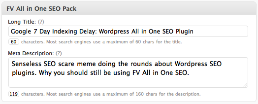 FV All in One SEO post interface