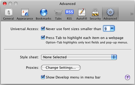 Safari Advanced Options Enable Developer Menu