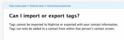Incorrect Highrise Tag Export Info