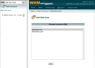 whm select dns zone