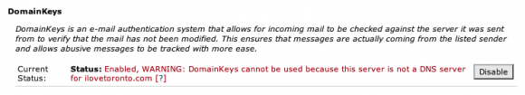 warning domainkeys cannot be used because this server is not a dns server