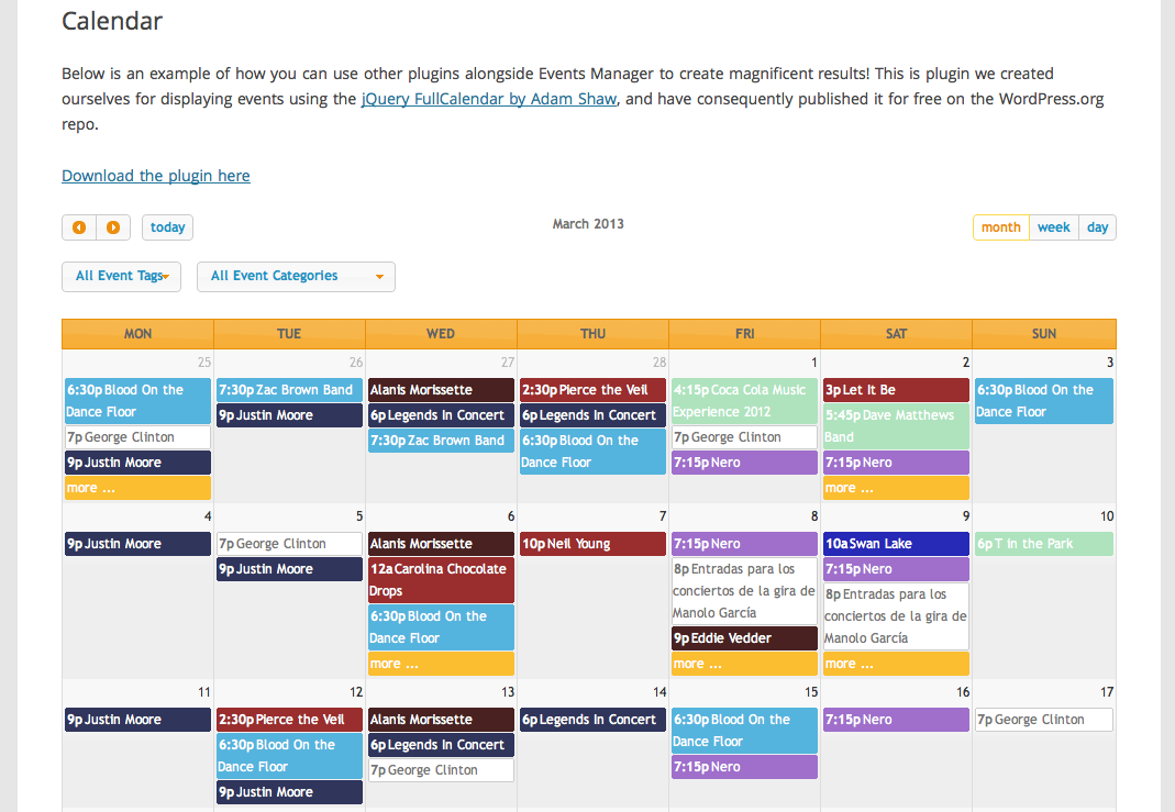 Calendar Website : Calendar plugins for wordpress cultural listings site