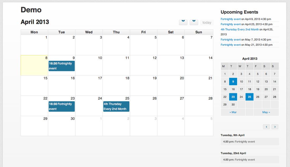 Event Calendar For Organization : Calendar plugins for wordpress cultural listings site
