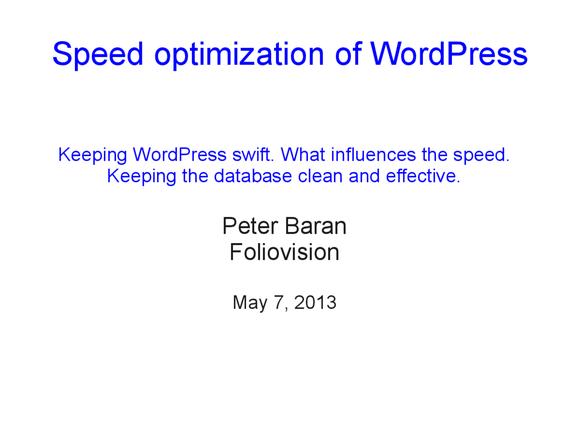 Speed optimization of WordPress 01