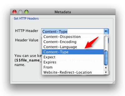 Bucket Explorer content type