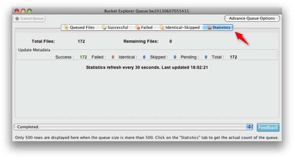 Bucket Explorer editing statistics
