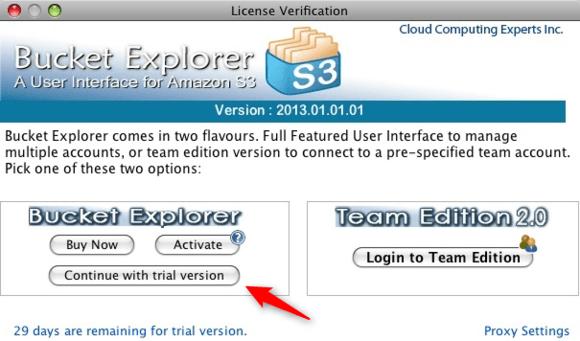 Bucket Explorer license verification