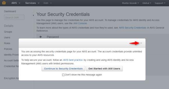 Your Security Credentials - precaution