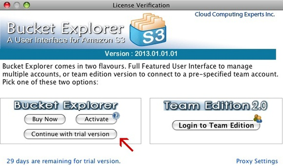 Bucket Explorer license verification