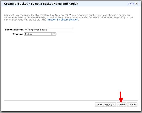 amazon s3 create bucket dialog