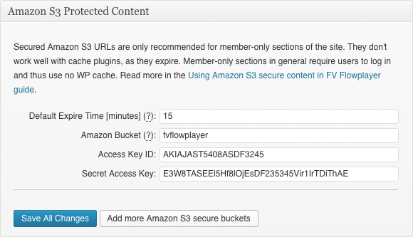 amazon s3 feature settings