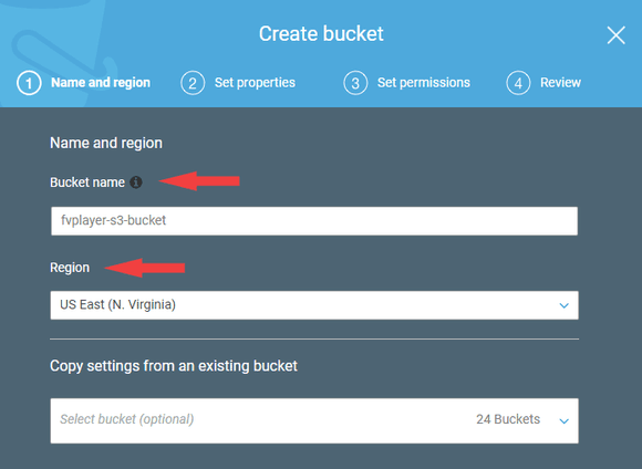 Selecting a bucket name and region in AWS S3