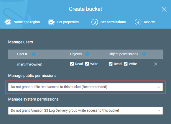 Setting bucket access permissions in AWS S3