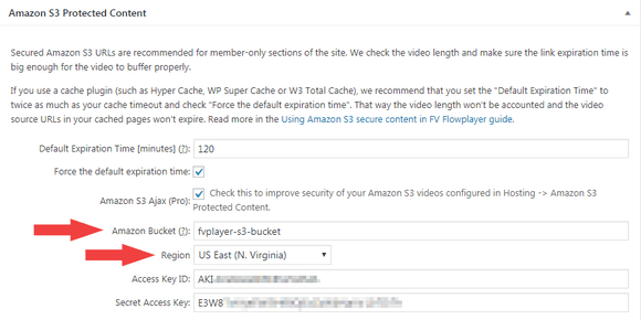 Setting up the AWS S3 bucket in FV Player settings