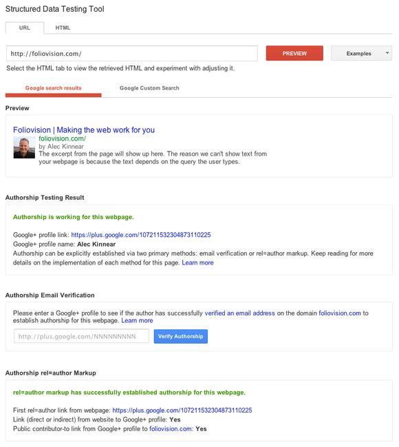 google authorship testing