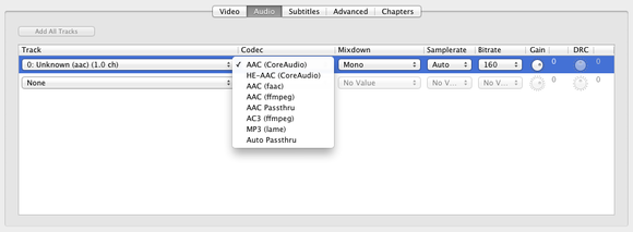 handbrake audio encoding