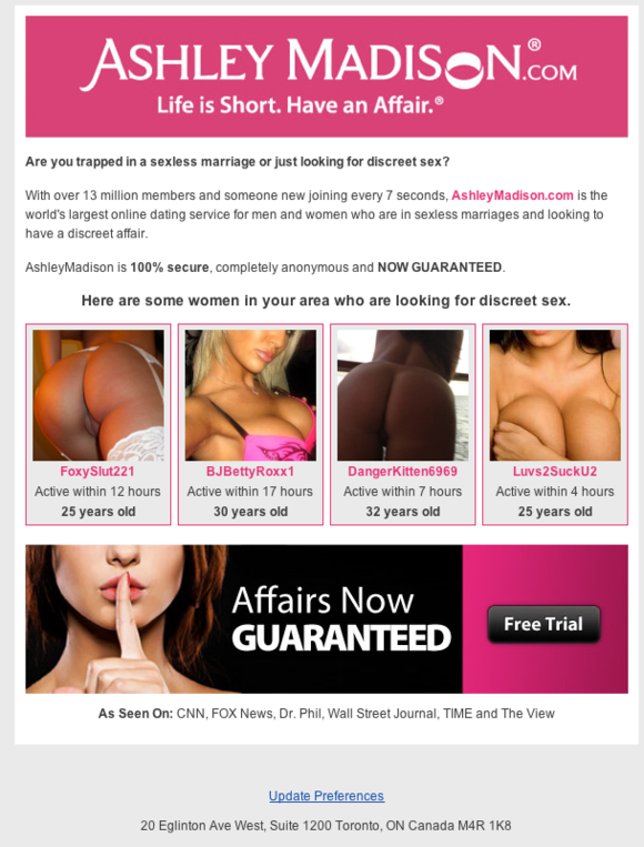 ashley madison adobe spam