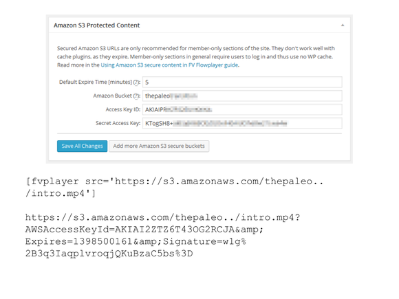 video wordpress fv flowplayer amazon protected