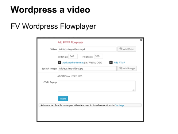 video wordpress fv flowplayer editor