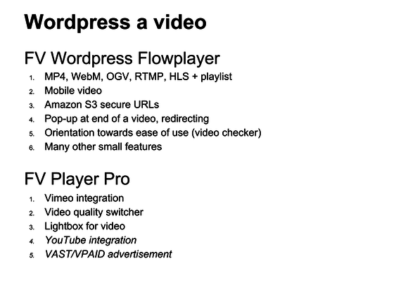 video wordpress fv flowplayer features