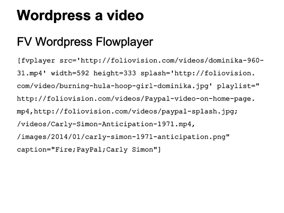 video wordpress fv flowplayer shortcode