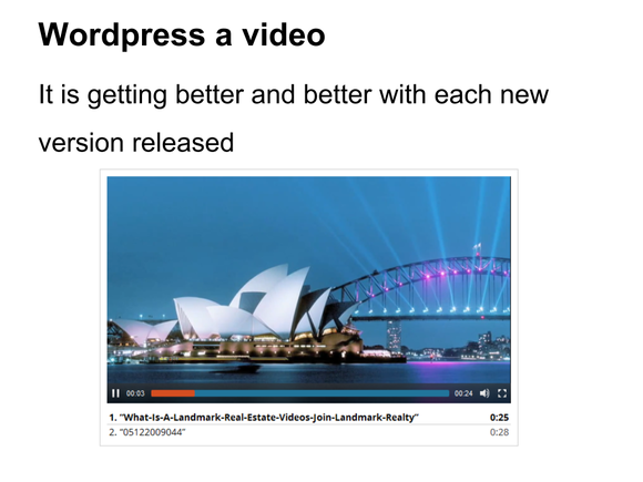 video wordpress standard feature