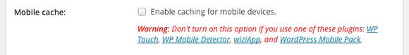 wp rocket mobile cache