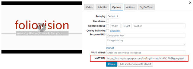 Using VAST or VPAID tags in FV Player's shortcode editor.