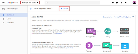 Click on the Enable button to activate YouTube Data API