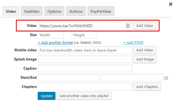 Adding a YouTube video with FV Player's shortcode editor