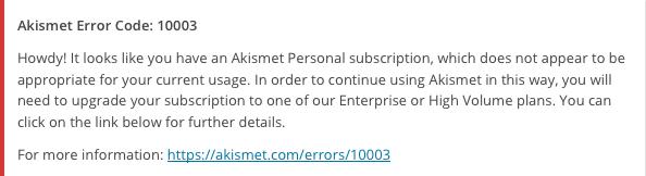 akismet usage warning