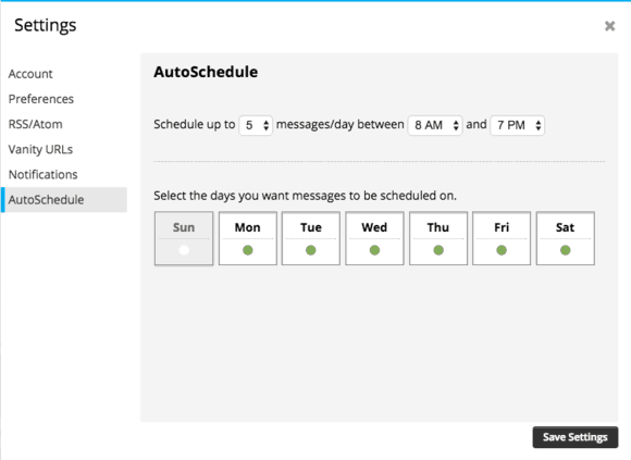 Hootsuite AutoSchedule settings