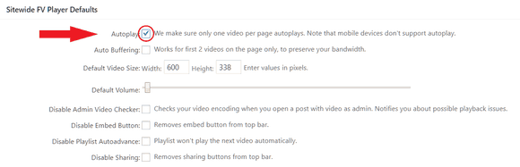 Autoplay as default for the whole website