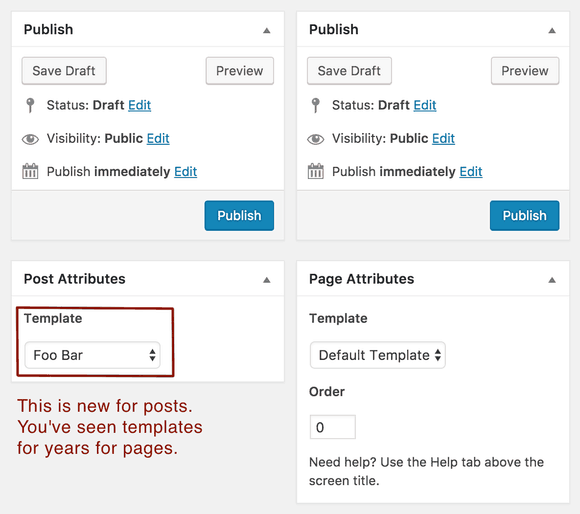 new WordPress post-attributes allow template options