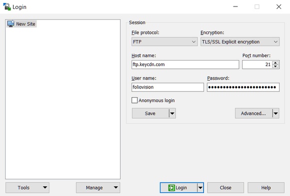 Logging into KeyCDN FTP with WinSCP