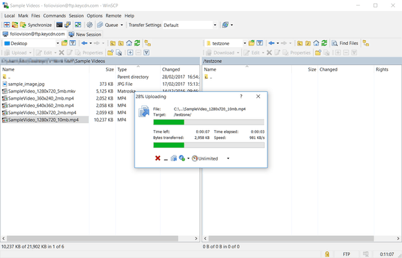Uploading the files to KeyCDN FTP
