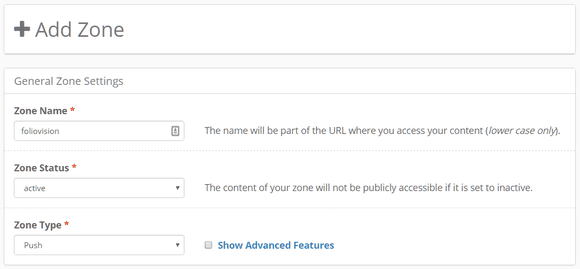 Creating a new Push zone in KeyCDN dashboard