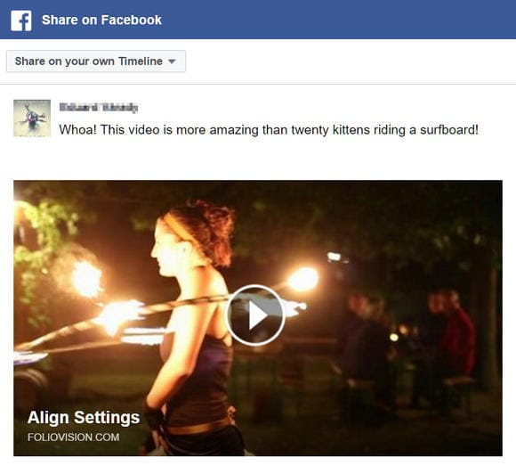 Sharing videos to Facebook directly