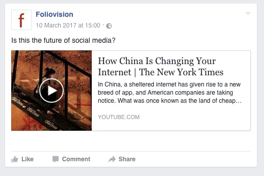 How videos linked from Youtube look on Facebook