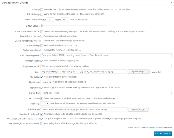 Sitewide FV Player Defaults in the plugin settings