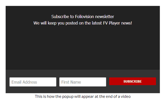 Preview of the email subscription form in FV Player settings