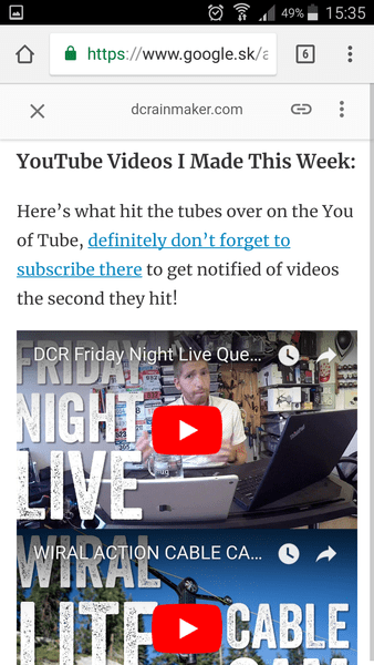 A YouTube video on a page loaded in AMP
