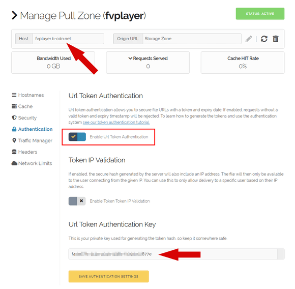Activating the URL Authentication in BunnyCDN Pull Zone