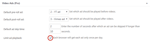 "Turning on the ""Limit ad playback"" feature in FV Player settings"