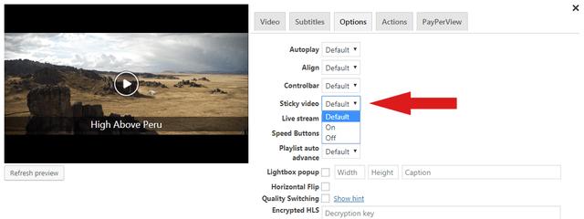 Sticky Video in FV Player's shortcode editor