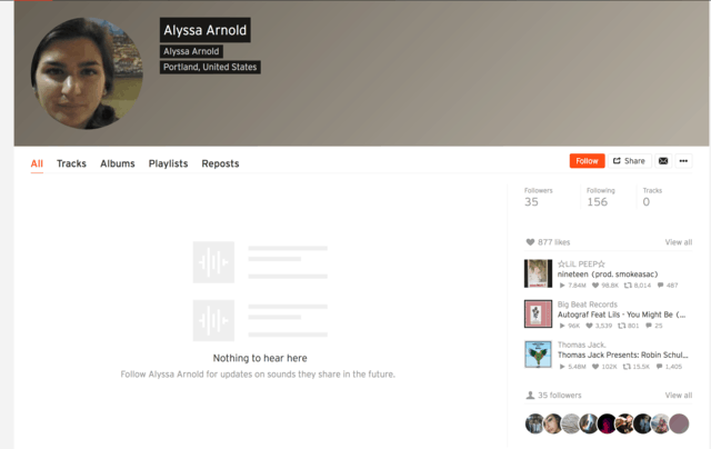 Path to Nowhere: Typical Empty SoundCloud User Profile